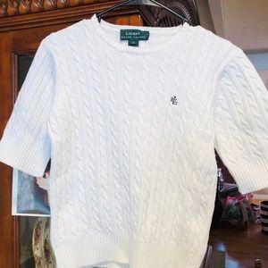 Lauren Ralph Lauren White Cable Knit Sweater